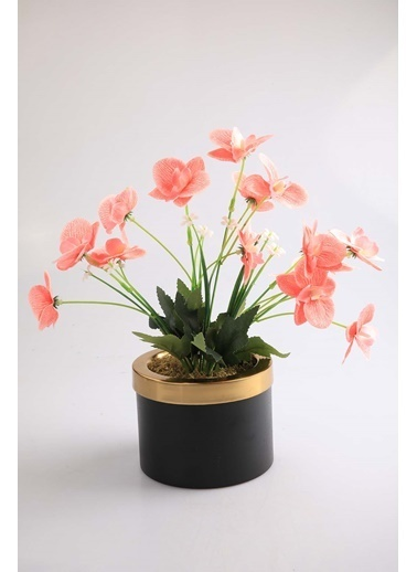 Kibrithane Çiçek Yapay Çiçek Metal Saksı  Mini Pembe Kumaş Orkide Kc00200813 Renkli